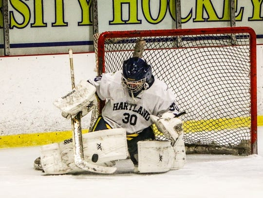 Brett Tome made 31 saves for Hartland in a 2-1 victory