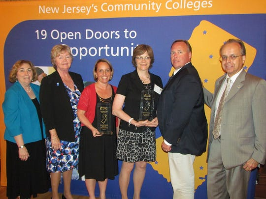 From left: Middlesex County College President Joann La Perla-Morales; Helen Albright, chair of the New Jersey Council of County Colleges (NJCCC); Student Success Executive Director Christine Harrington, who accepted the award on behalf of Kathryn Suk; Theresa Orosz; William Austin, NJ Community College Presidents Council chair; and Lawrence Nespoli, NJCCC president.