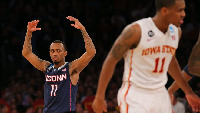 Mar 28, 2014; New York; Connecticut Huskies guard Ryan Boatright (11) reacts  during the second half against the Iowa State Cyclones in the semifinals of the east regional of the 2014 NCAA Mens Basketball Championship tournament at Madison Square Garden.