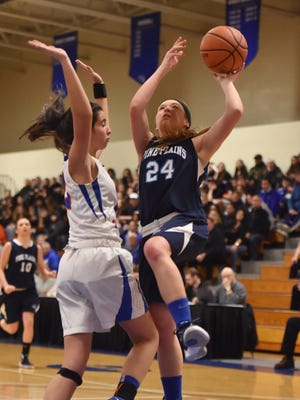 Pine Plains' Haleigh Funk takes a layup during the Section 9 Class C final against S.S. Seward at Mount Saint Mary College in Newburgh on Feb. 25.