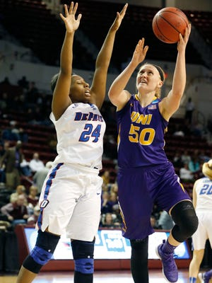 Northern Iowa forward Megan Maahs (50) attempts a shot past DePaul guard Tanita Allen (24) during the first half of Friday's NCAA Tournament game in Starkville, Miss.