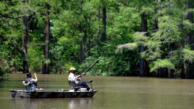 Mary Walker and John Roberts fish in a oxbow in the Hatchie National Wildlife Refuge.