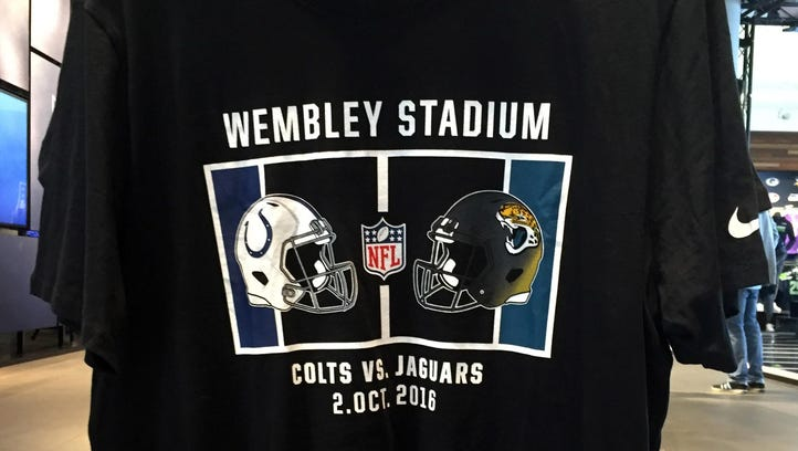 General view of T-shirt at Niketown London promoting the NFL International Series game between the Indianapolis Colts and the Jacksonville Jaguars at Wembley Stadium.