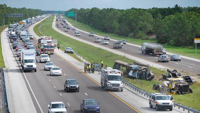 Semi rollover blocking part of I-75 south