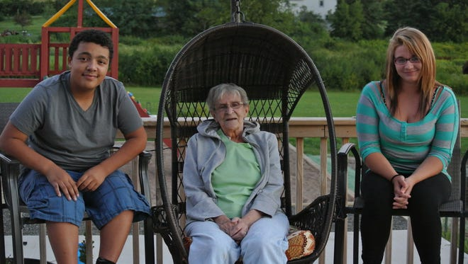 Sharon Kohler, at center, has been named 2015 Honored Grandparent for the Granton Fall Festival. She was nominated by her grandchildren, Ceasar Young, at left, and Angela Kowal.
