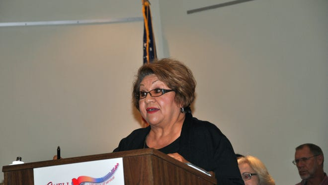 In this photo taken on Tuesday, Oct. 27, 2015, Virginia E. Garcia speaks at a meeting in Roswell, N.M., in favor of naming streets after civil rights icons Cesar Chavez and Martin Luther King Jr.