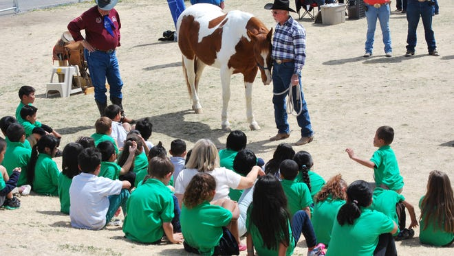 First-graders at Lemelson STEM Academy get an up-close lesson about horses during the first presentation of the Reno Rodeo Reading Roundup in 2015.