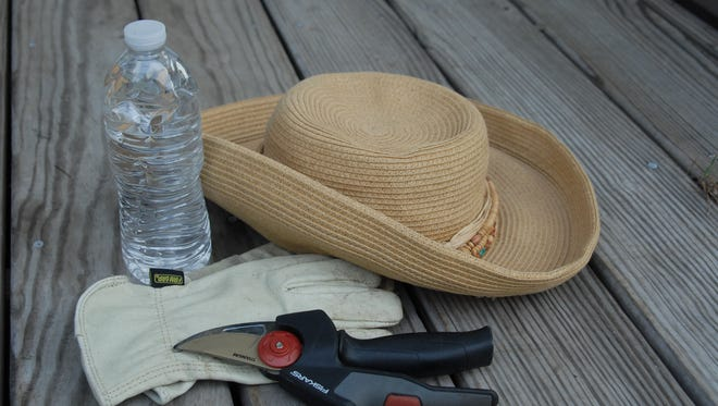 Staying out of the midday heat, wearing a straw hat and drinking plenty of water, along with using sunscreen and mosquito repellent, help make summertime gardening bearable.