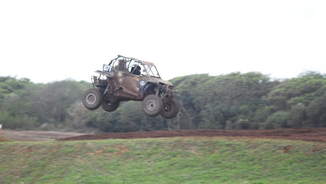 In this 2018 file photo, Joey Crisostomo Jr. in his Polaris UTV No. 671 lands softly during the main event, the 4-hour enduro at the APL Guam Smokin Wheels 2018 at the Guam International Raceway in Yigo on April 15.