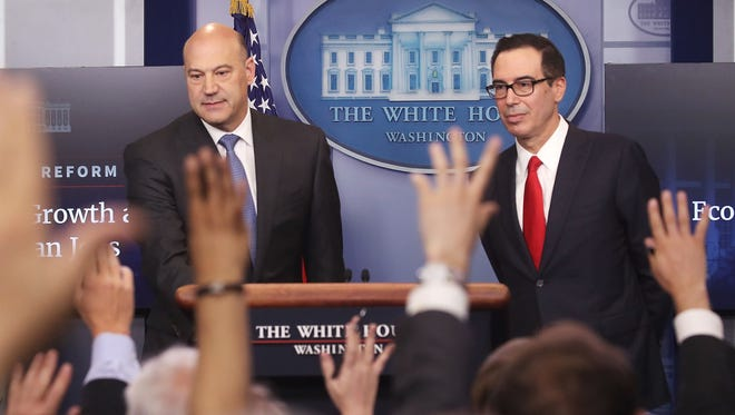 Treasury Secretary Steven Mnuchin and National Economic Council Director Gary Cohn speak about President Trump's new tax reform plan during a briefing at the White House on April 26, 2017.