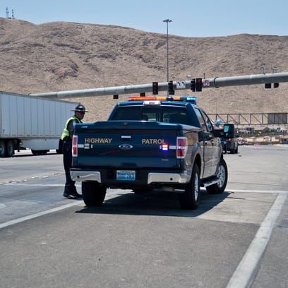 A police vehicle blocks the entrance to Interstate