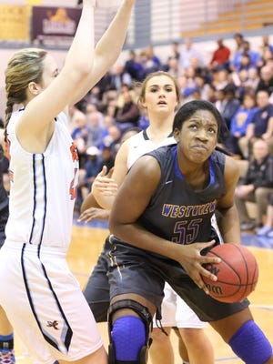 Westview's Deja Graves muscles her way under the basket against South Gibson. Westview is competing in the TSSAA Class AA girls basketball state tournament.