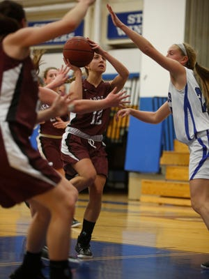 Scarsdale's Alexis Kline (12) shoots against Pearl River during Monday's game.