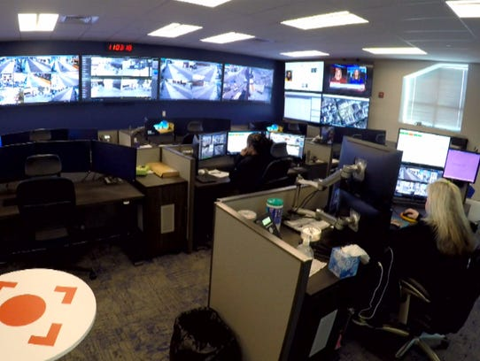 Cameras are monitored inside the Atlantic City Headquarters