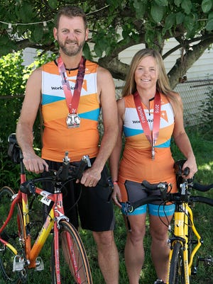 Matt and Hollie Thompson competed in an Ironman competition.