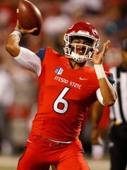 Sep 30, 2017; Fresno, CA, USA; Fresno State Bulldogs quarterback Marcus McMaryion (6) throws a pass in the fourth quarter against the Nevada Wolfpack at Bulldog Stadium. The Bulldogs defeated the Wolfpack 41-21. Mandatory Credit: Kiel Maddox-USA TODAY Sports