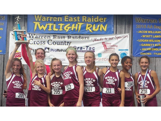 The North Middle School girls cross country team finished