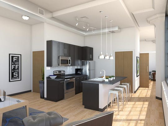 A rendering of a new loft-style apartment planned inside
