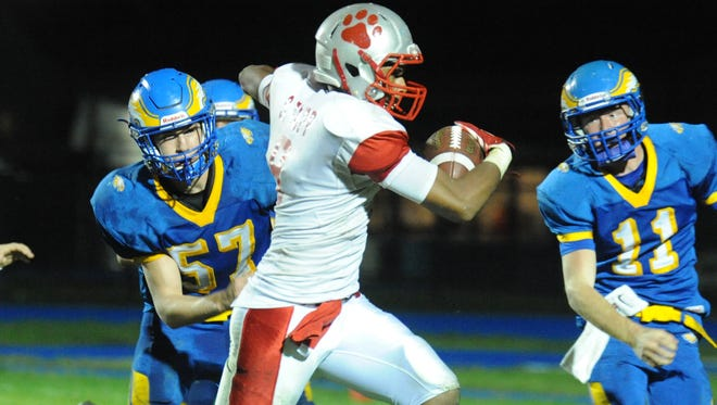 St. Joseph's Sencere Tapp runs in an interception for score to help seal last year's win over Pennsville. The two teams will renew acquaintances Saturday in Hammonton.