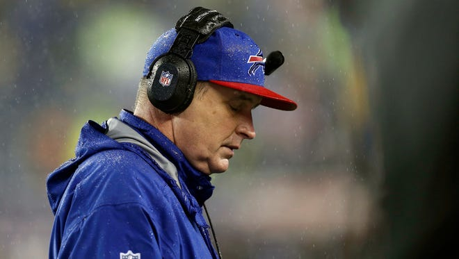 Buffalo Bills head coach Doug Marrone walks on the sidelines during the second half of their 34-20 loss to the New England Patriots at Gillette Stadium.