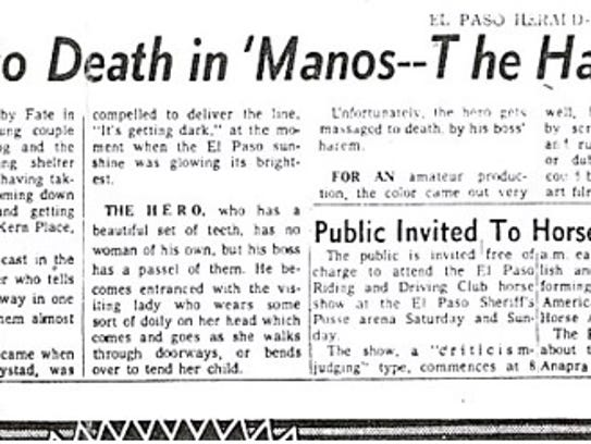 """The El Paso Herald-Post ran its review of """"Manos: The"""