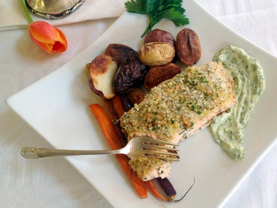 Roasted salmon, potatoes and carrots are the basis