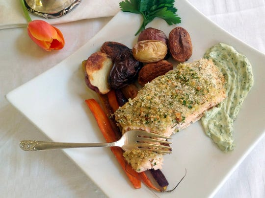 Roasted salmon, potatoes and carrots are the basis of this Easter meal.