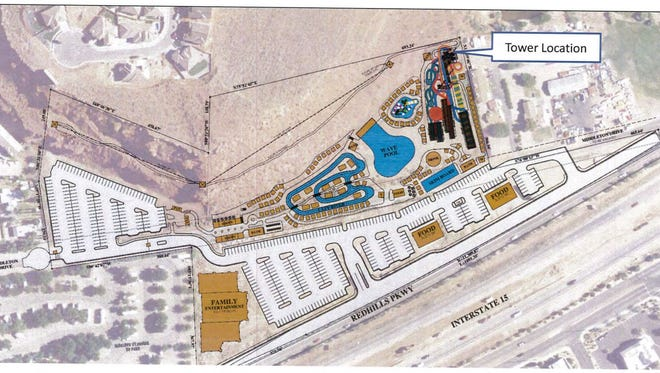 A site plan map shows the proposed location of a new water park in St. George, near the border with Washington City on Red Hills Parkway and Middleton Drive.