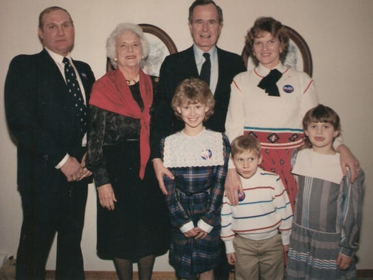 The Ed Pundt family, with Barbara and George H.W. Bush,