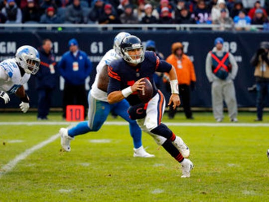 Chicago Bears quarterback Mitchell Trubisky (10) scrambles against the Lions last Sunday. He'll start his seventh career game when the Bears play the Eagles on Sunday.