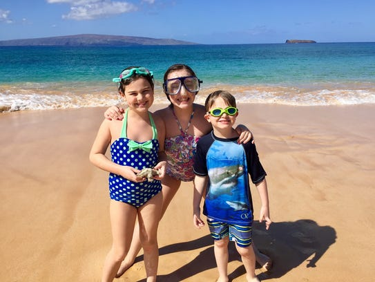 Sarah, Julia, and Sam Shamus on Makena Beach in Maui,