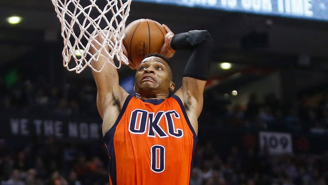 Oklahoma City Thunder guard Russell Westbrook (0) goes to dunk against the Toronto Raptors during the first half at the Air Canada Centre.