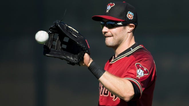 A.J. Pollock works out during the first full-squad practice of spring training at Salt River Fields at Talking Stick on Tuesday, Feb. 23, 2016.