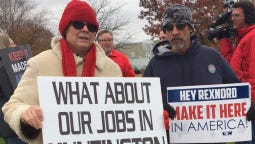 Rexnord Corp. employees in Indianapolis protest the pending loss of their jobs while President-elect Donald Trump helped saved jobs at nearby Carrier Corp.