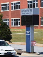 Powdersville High School during a lockdown on Monday. Law enforcement look for a third person in a nearby burglary.