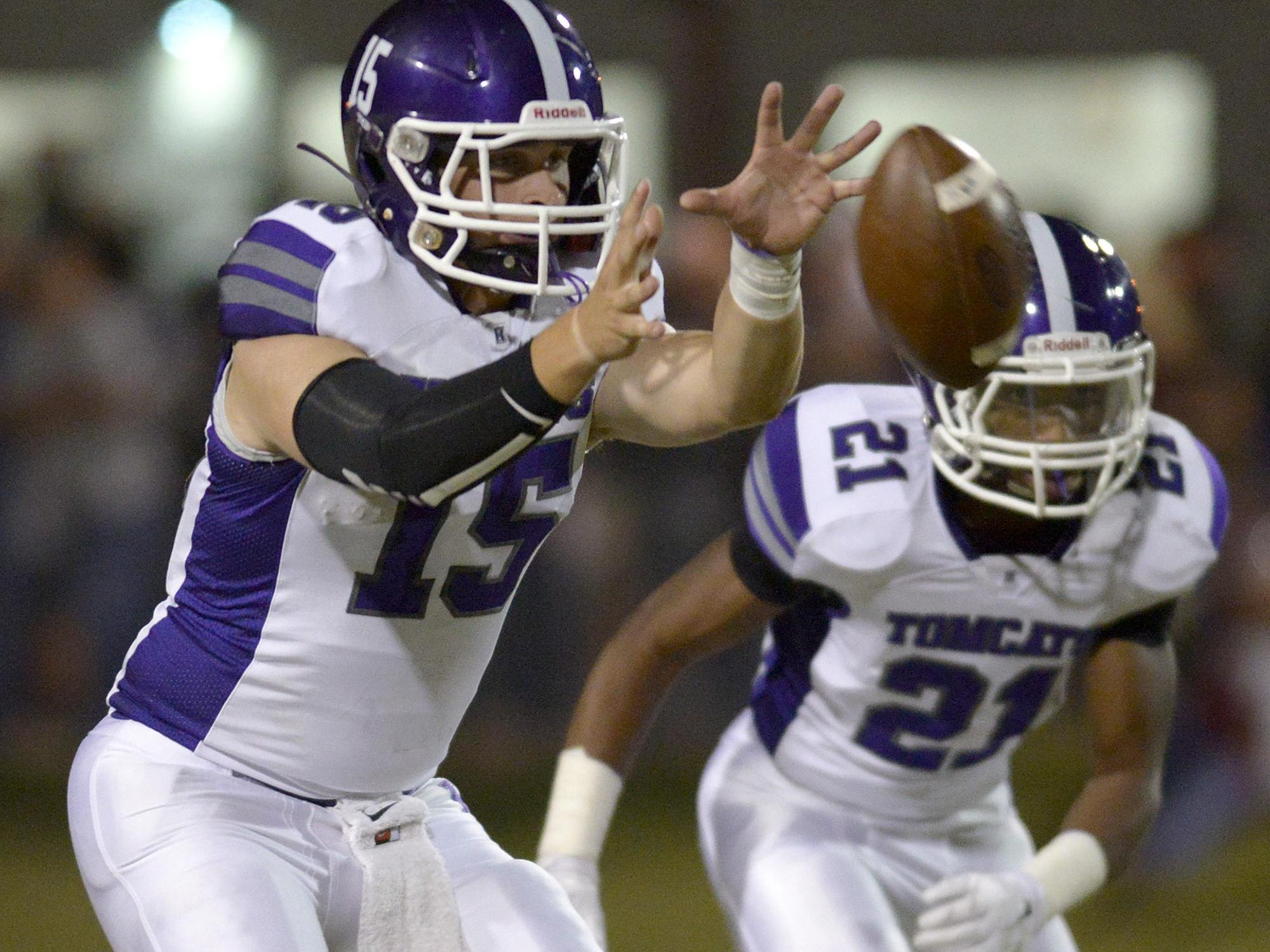 Haywood's Bo Gillespie (15) takes the snap against Crockett County on Friday in Alamo.