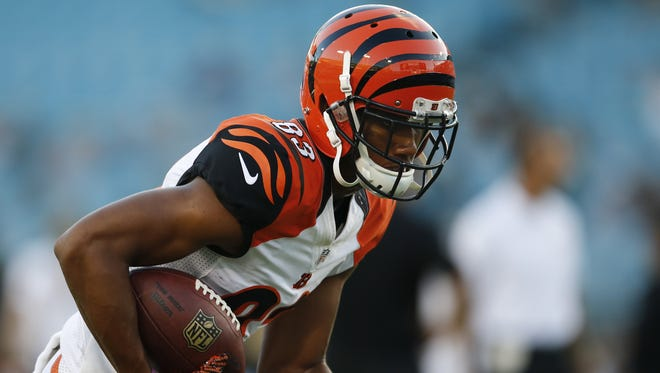 Bengals wide receiver Tyler Boyd catches a pass during warmups before the preseason game against Jacksonville on Aug. 28.