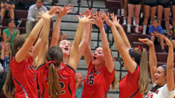 Eastchester celebrates after scoring a point against