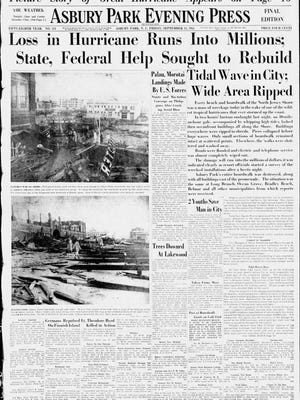 "The front page of the Asbury Park Press on Sept. 15, 1944, the day after ""The Great Atlantic Hurricane of 1944"" left many Jersey Shore communities in ruins."