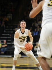 Iowa's Connor McCaffery looks for an open teammate