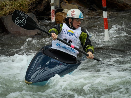Kayaking champion Adrienne Levknecht competes in a past Glacier Breaker slalom race. While the slalom race has been canceled this year, the wildwater race will still take place on March 1 on the Nantahala River.
