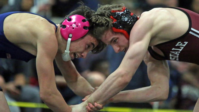 MIchael DaBramo of Scarsdale defeated Luca Errico of Byram Hills in the 113 pound match during the Westchester County wrestling championships at Yonkers High School on Jan. 31, 2016.