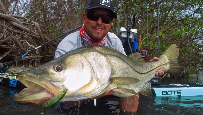 """Fishing guide and artist Capt. Stephen Ferrell of Melbourne Beach loves to fish for snook. """"There's nothing better. It's just intense."""" Ferrell likes to fish from his paddleboard a lot and casts under docks, along mangrove shorelines and other structure to find snook, trout and redfish."""