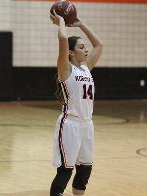 Robert Lee High School's Mariah Munoz looks to pass during a District 14-1A basketball game against Veribest at the Robert Lee gym on Friday, Jan. 12, 2018. Munoz had a game-high 12 points in the Lady Steer's 36-34 overtime win.
