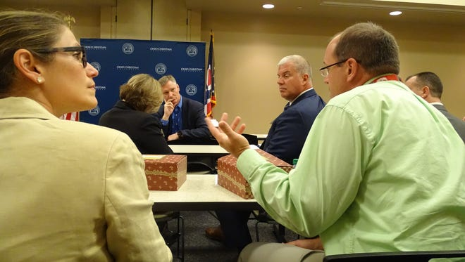 Chillicothe VA Associate Chief of Primary Care Dr. Adam Jackson addressed the format of this year's opiate summit with Representative Steve Stivers Wednesday at Ohio Christian University.