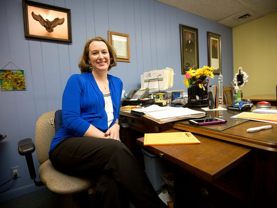 Owner Andrea Jensen in her office at Tri-City Refrigeration