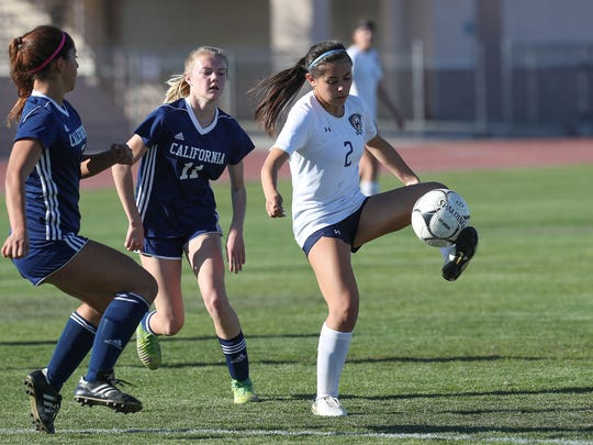 Alexis Garcia tries to control the ball during the La Quinta Blackhawks playoff win against California, February 20, 2018.