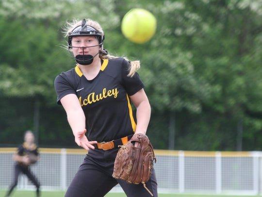 McAuley's Hailey McAdoo delivers a pitch in relief