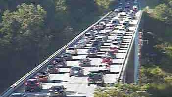 Traffic is slow on the southbound Taconic State Parkway north of the New Croton Reservoir after a five-car accident at Route 134 in Yorktown blocked a lane, July 20, 2016. The traffic is seen in a traffic camera image.