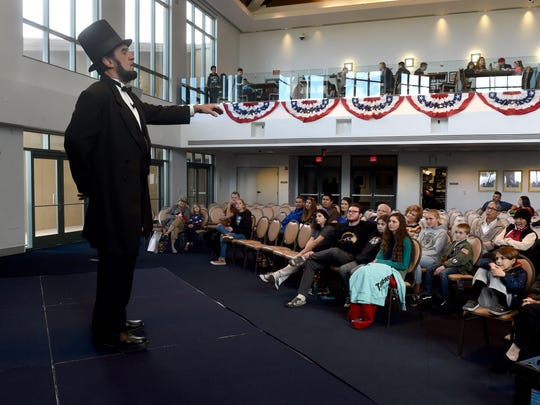 Abraham Lincoln, portrayed by J.P. Wammack, gives at the Ronald Reagan Presidential Library & Museum.  For its Fourth of July celebration, the library will actors portraying Lincoln and other presidential figures.